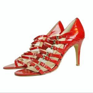 Women's size 8 Nine West Stappy High heels red
